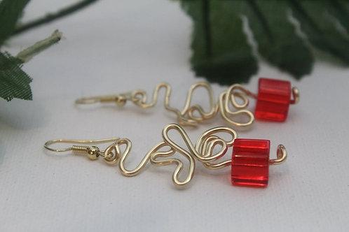 Red Glass Cube Wearable Wire Art Earrings