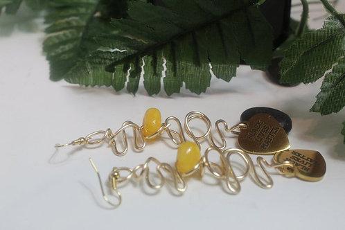 Black Lives Matter Wire Art Dangle Natural Stone Earrings