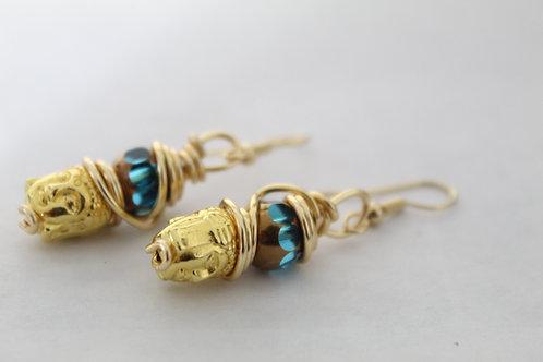 Gold Tone Budda Head Dangle Earrings
