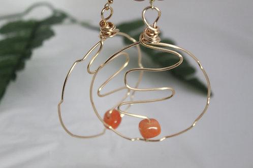 Hoop Swirl Earrings w/Orange Natural Beads