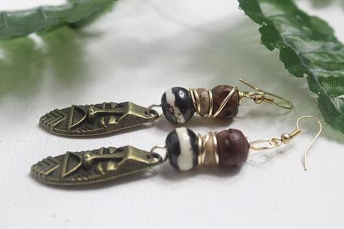 Tibetan Bone Rondelle Ethnic Earrings