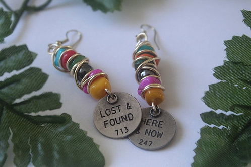 Multi Colored Natural Stone Statement Charm Earrings