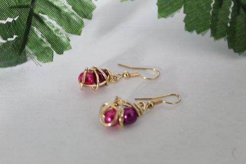 Purple & Fuchsia Mini Wire Wrapped Peal Earrings