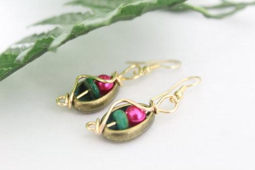 Metal Cowry, Natural Stone & Pearl Wire Earrings