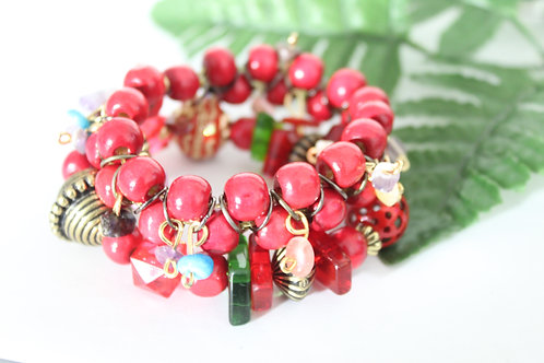 Double Red Stretch Bracelet Set