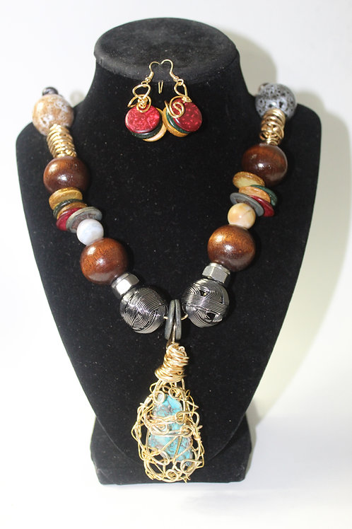 Jasper Slab Boho Chunky Beaded Necklace Set
