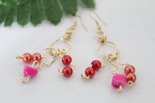 Pearl Crinkle Charm Dangle Earrings