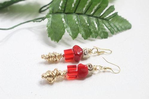 Red Natural Stone Boho Dangle Earrings
