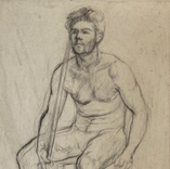 Undraped seated male, 1947-9