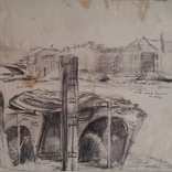 Thames Barges, 1950, Drawing