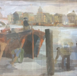 Thames Barges with figures, (enlarged, squared up), 1950. Gouache