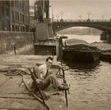 David McClure on the bank of the Thames, 1950.