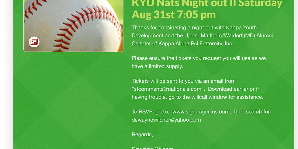 Kappa Youth Development Foundation Night Out with the Nats