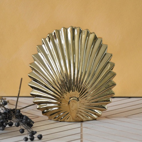 Gouden palm blad vaas S