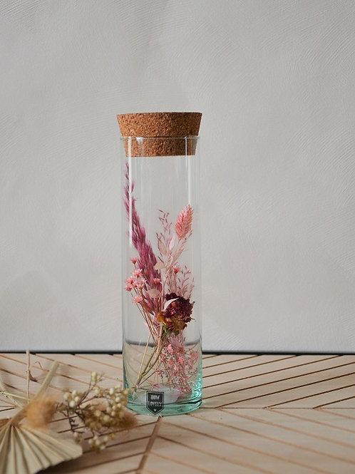 Buisje met droogbloemen - Roze M