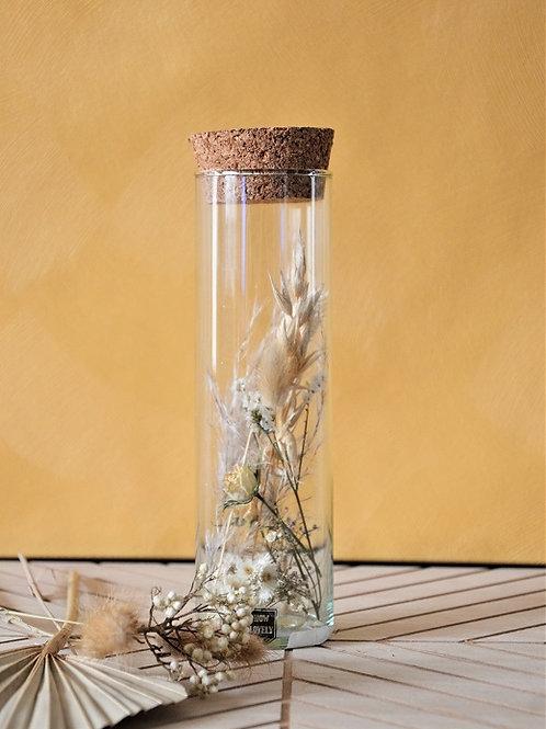 Buisje met droogbloemen - Wit M