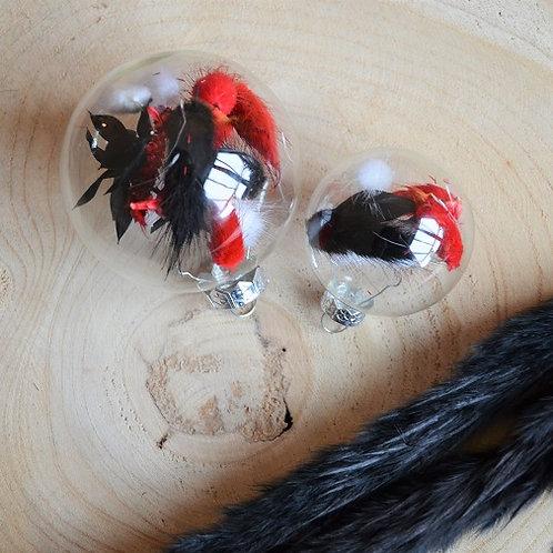 Handgevulde kerstbal - Rood/zwart