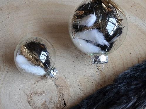 Handgevulde kerstbal - Zwart/goud