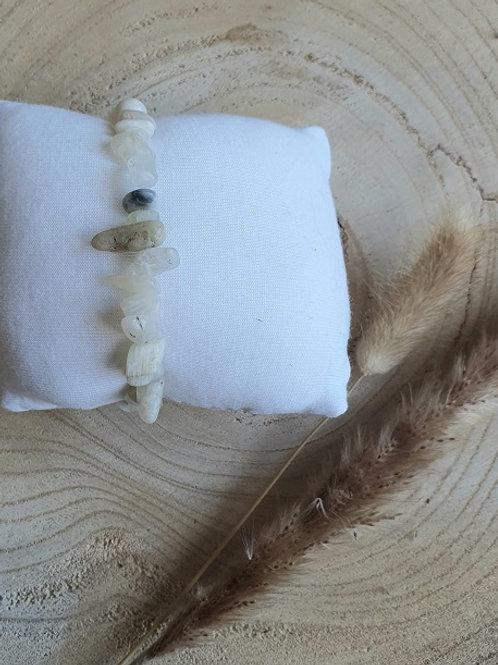 Armband naturel maansteen chips