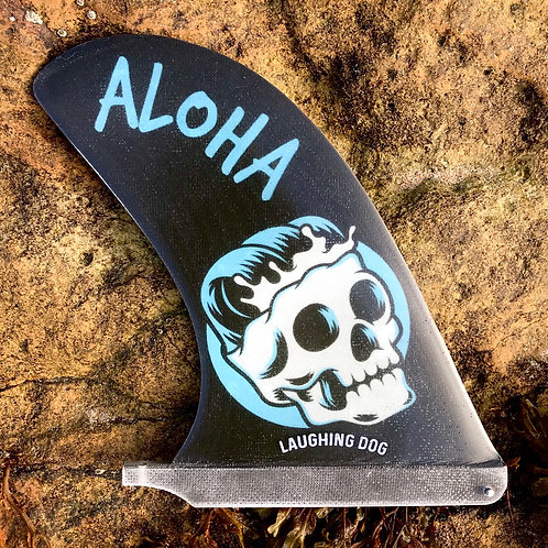 8.5 inch Heavy Hatchet longboard fin in Aloha Surf Skull design