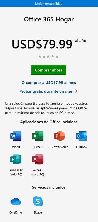 Office 365 Hogar /año