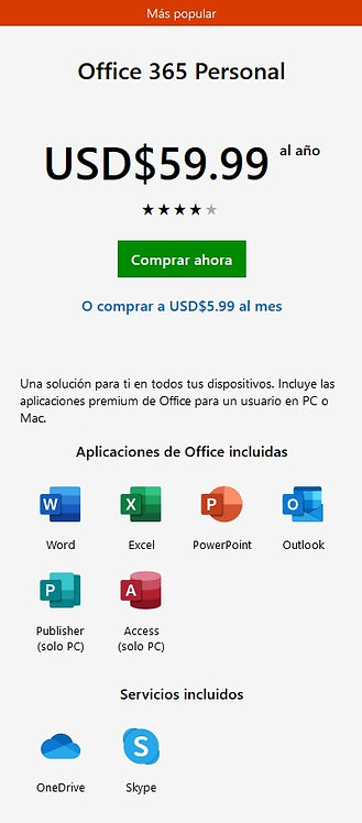 Office 365 Personal /usuario/año