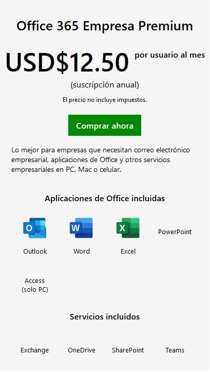 Office 365 Empresa Premium /usuario/1 año