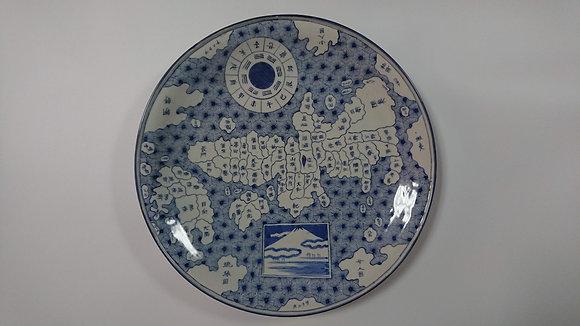 古伊万里染付 日本地図大皿