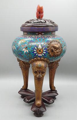 中国 明時代   唐花文七宝獅子金具香炉