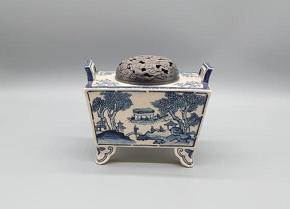 初代伊東陶山 作  長方式山水画香炉