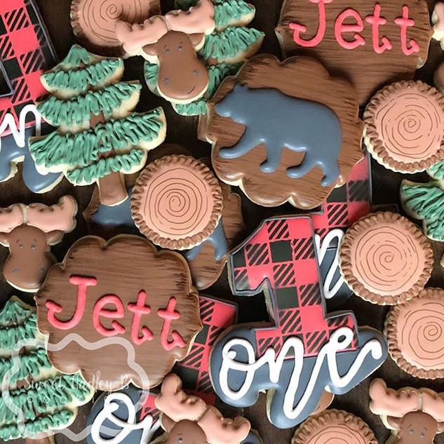 Lumberjack cookies for Jett's first birt