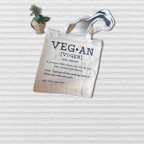 Vegan Dictionary Emroidered Tote Bag