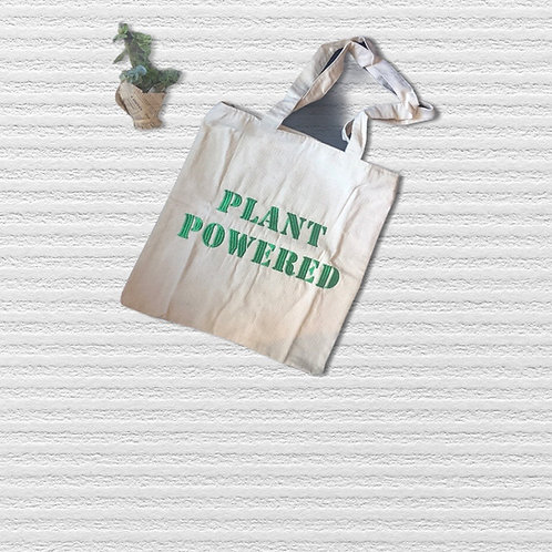 Plant Powered Embroidered Tote Bag