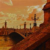 21 Sunset over the Seine. Acrylic on boa