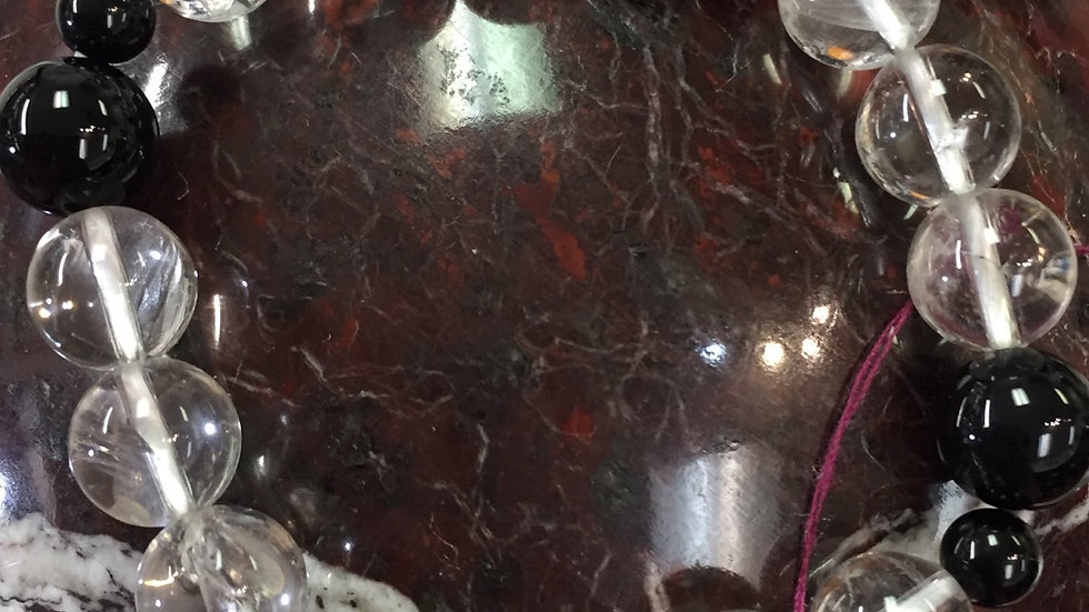 Obsidian quartz bracelet
