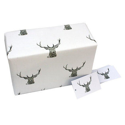 Wrapping paper with tag 'Black and White Stags' by Sophie Botsford'