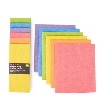 Compostable Sponge Cleaning Cloths - Rainbow 6pk