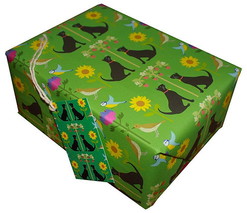 Wrapping paper with tag 'Classic Cats - Vicky Sutch'