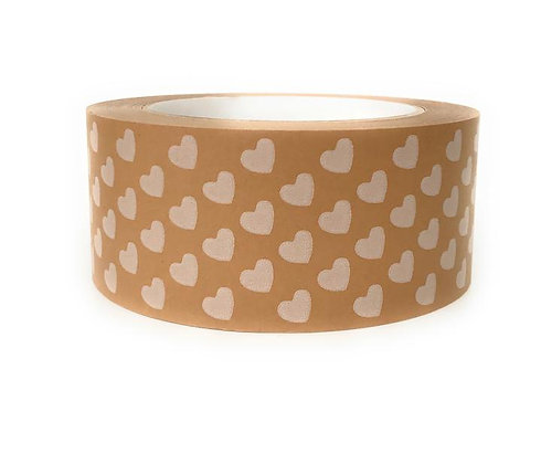 Printer Paper Parcel Tape - White Hearts