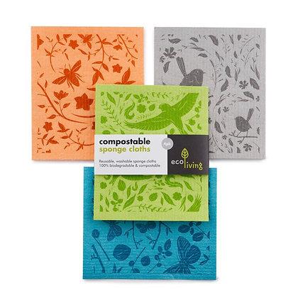 Compostable Sponge Cleaning Cloths - Botanic 4 pk