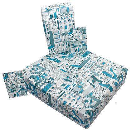 Wrapping paper with tag 'Buildings' by Rosie Parkinson