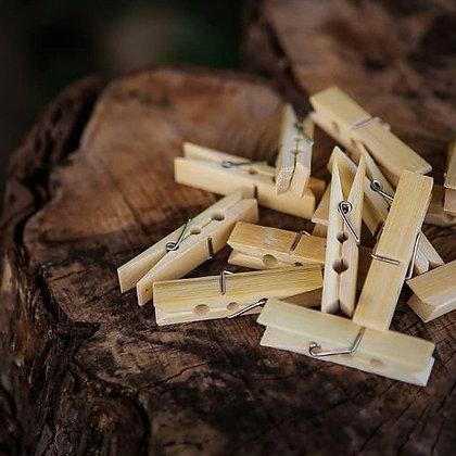 Bamboo Laundry Pegs - Biodegradable & Vegan - 20 Pack