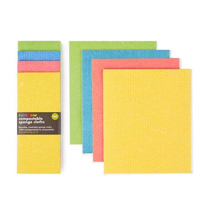 Compostable Sponge Cleaning Cloths - Rainbow 4pk