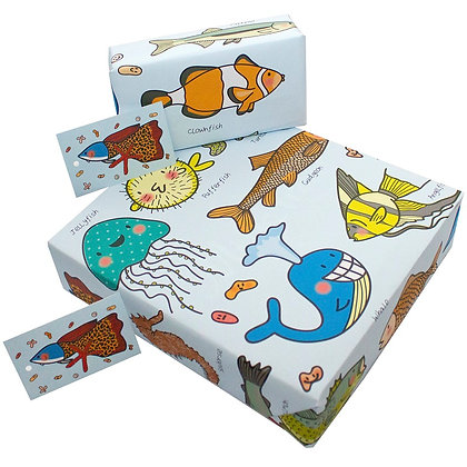 Wrapping paper with tag 'Sea Creatures' by Rosie Parkinson