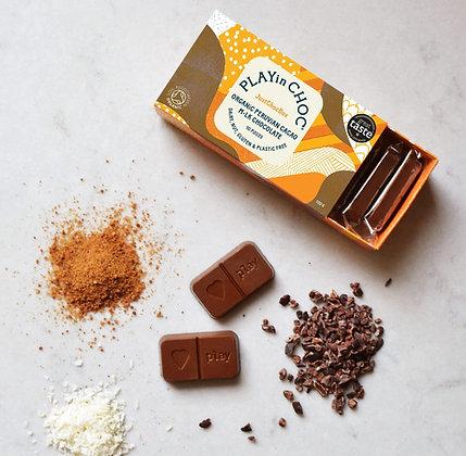 JustChoc Box Organic Peruvian Cacao M•lk Chocolate 100g