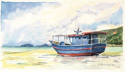 """""""Traditional Seychelles fishing boat"""" Watercolor by Roland Henrion"""