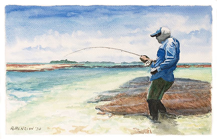 Fish on! Water color by Roland Henrion