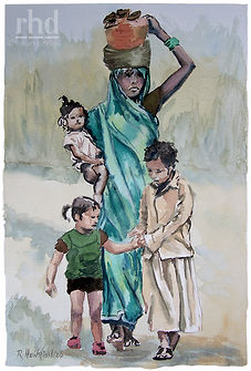 """""""Brave young mother and children"""" Watercolor by Roland Henrion"""