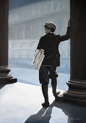 """""""The newspaper boy"""" Painting by Roland Henrion"""