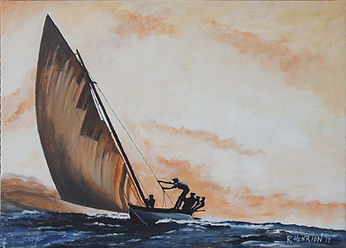 """Whaling skiff under sail, Azores"" Painting by Roland Henrion"